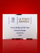Forex Broker of the Year in Eastern Europe 2018 according to Le Fonti Awards